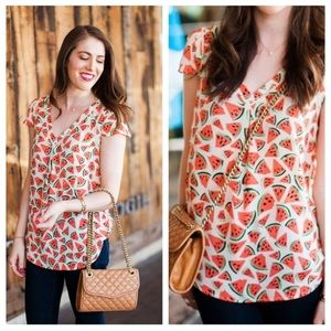 Maeve Picnic Days Watermelon Blouse Anthropologie